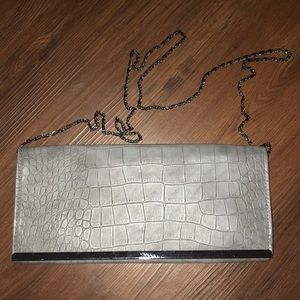 Gray faux alligator skin purse/clutch